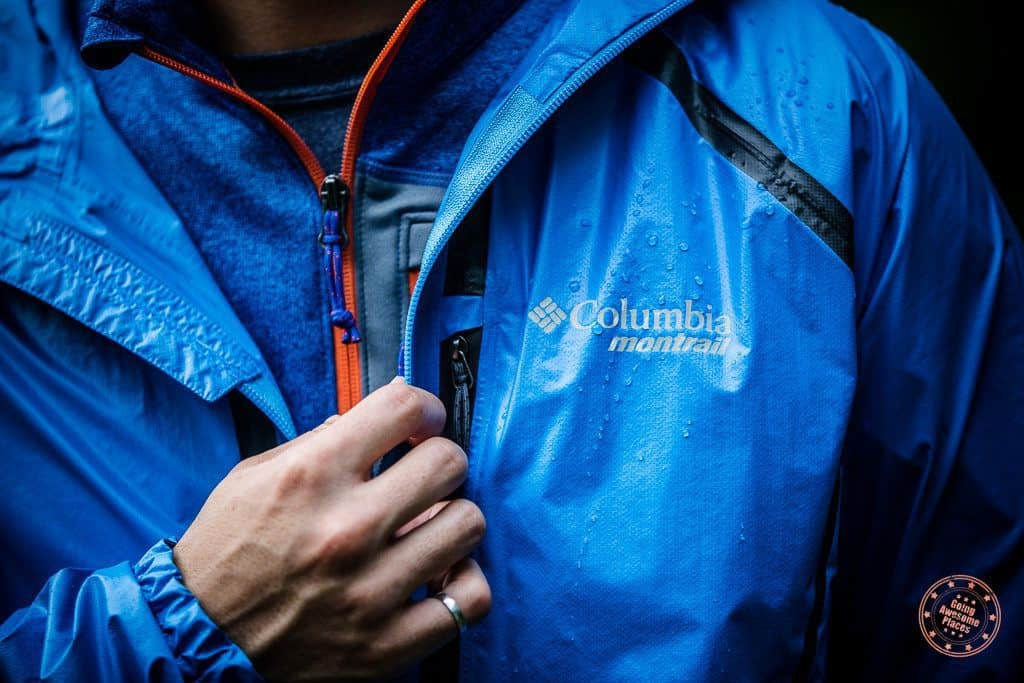 wearing columbia outdry ex coldorado shell jacket and jackson cree half zip fleece while hiking