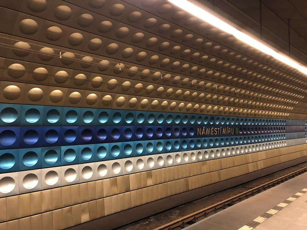 colorful metro station in prague