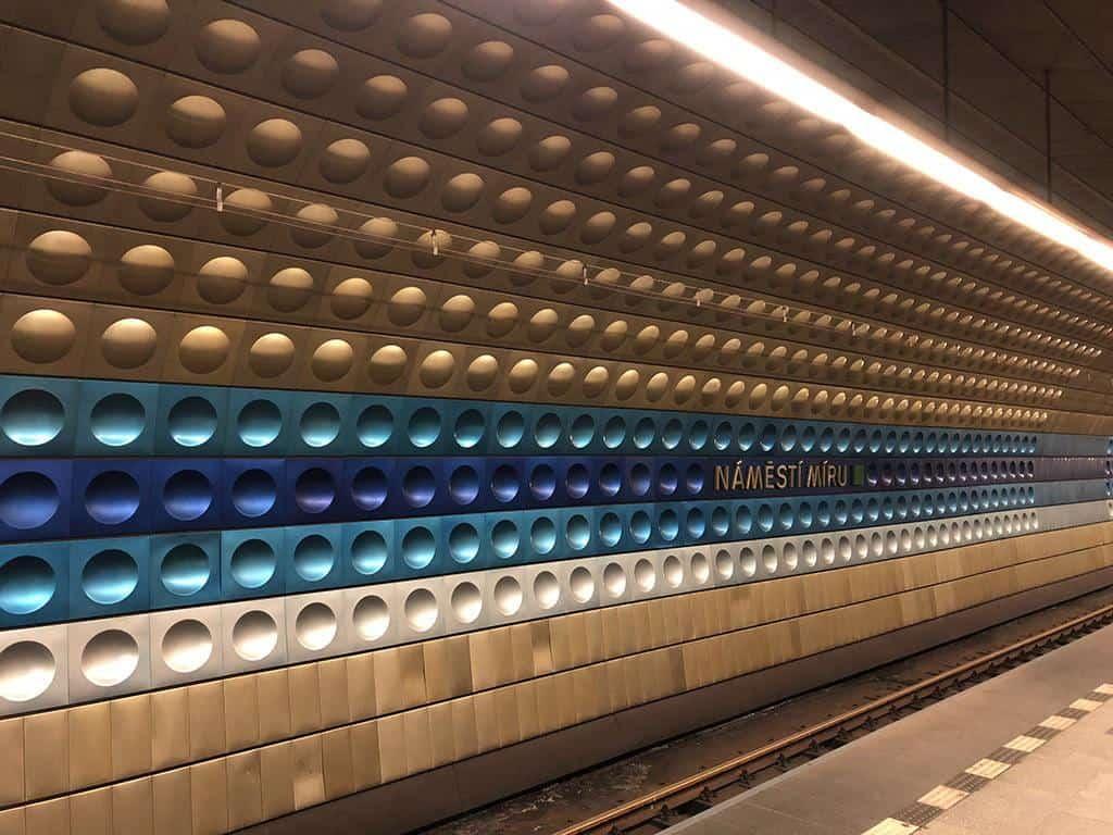 colorful metro station in prague