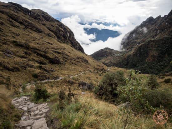 hiking downhill along inca trail