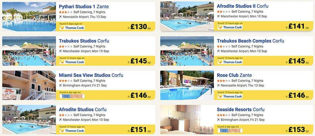 last minute vacation deal examples from dealchecker