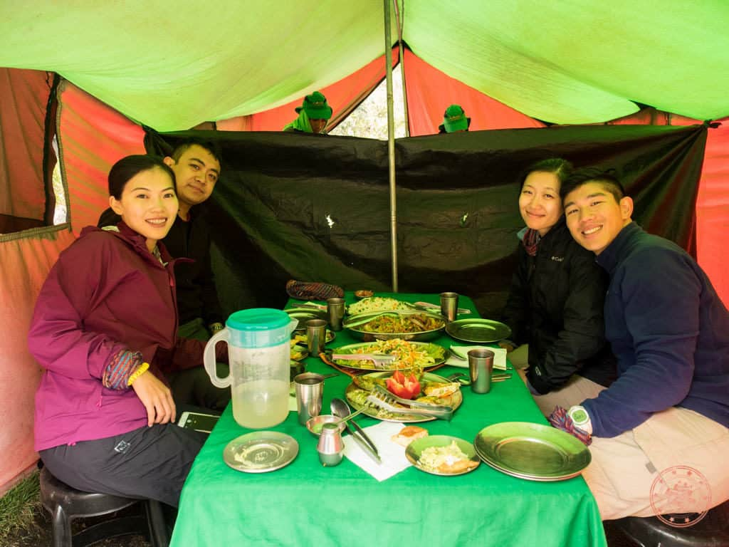 eating lunch in tent on second day of inca trail hike