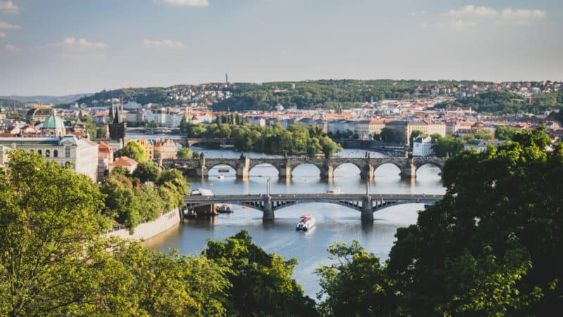 beautiful prague photography of the vltava river from letna park