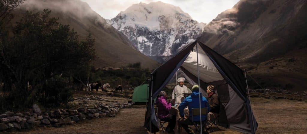 soraypampa world expedition trek campsite dinner