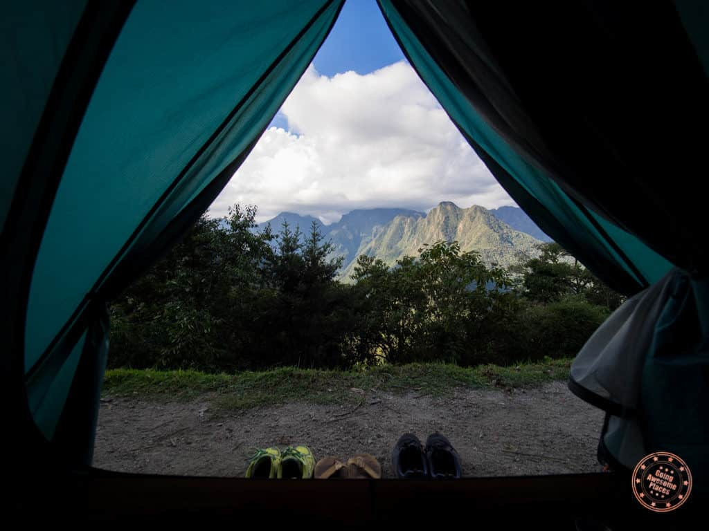 view of the andes mountains in peru from tent