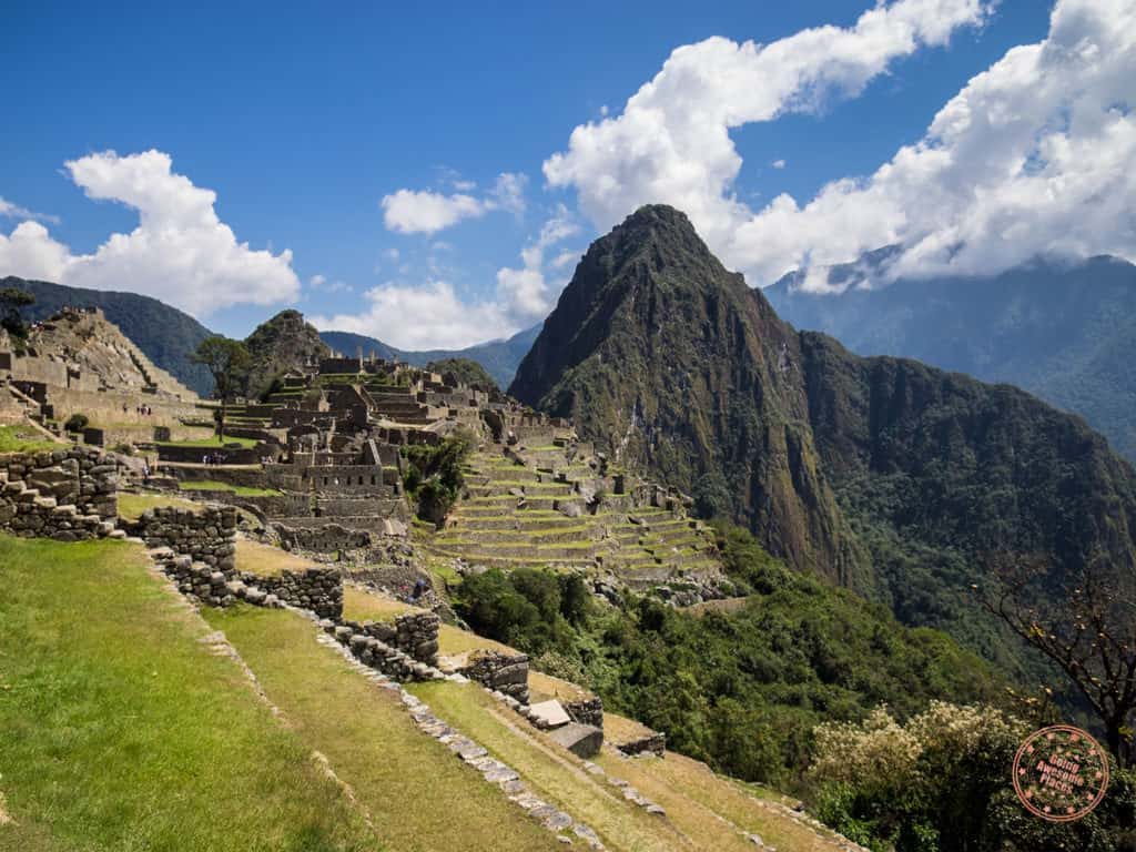 inside the citadel machu picchu and view of huaynu picchu behind