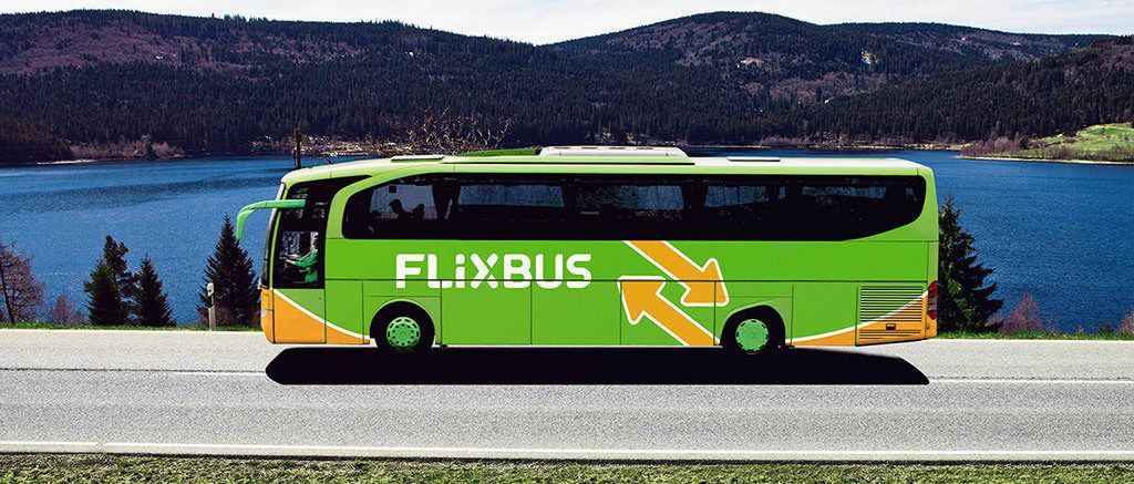 green flixbus on the road