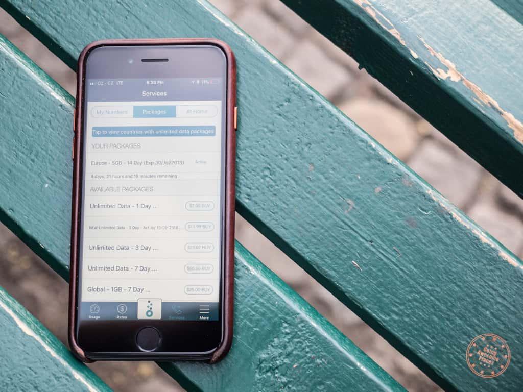knowroaming app package menu on park bench