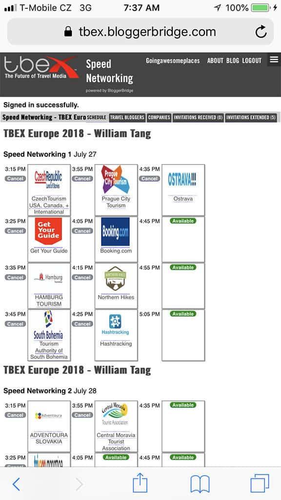 blogger bridge speed networking schedule at TBEX