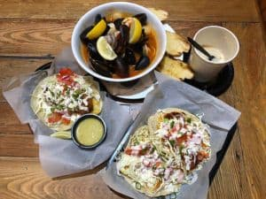 blue water seafood in san diego fish tacos and mussels