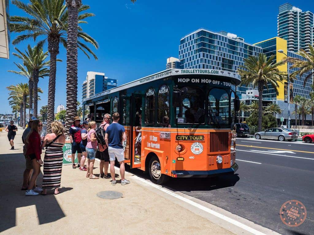 boarding old town trolley tour in san diego