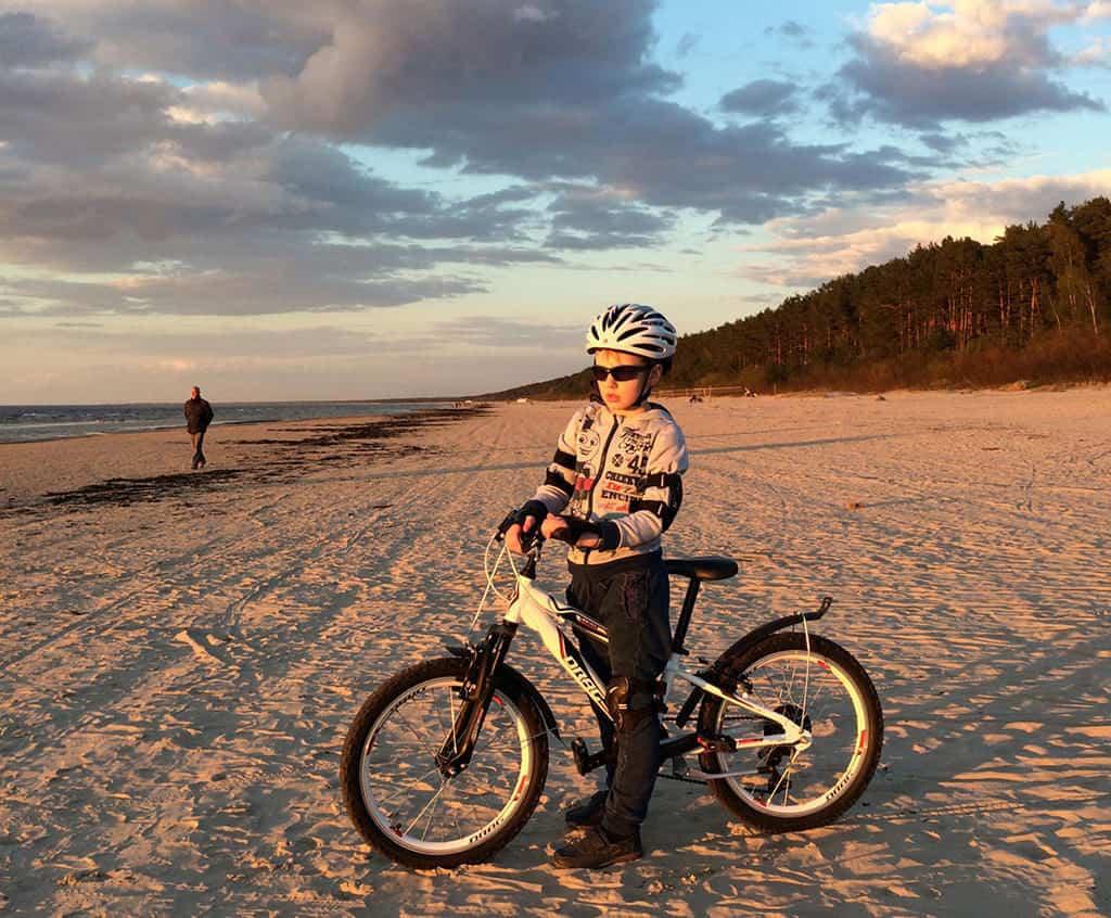 cycling in jurmala city beach