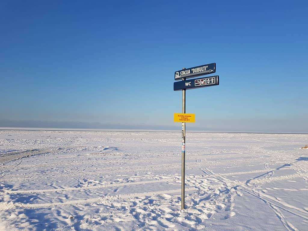 frozen gulf of riga in the city of jurmala