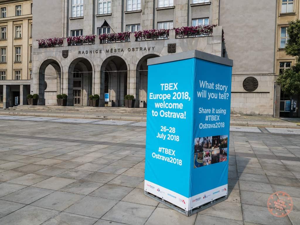 tbex signage at new city hall in ostrava