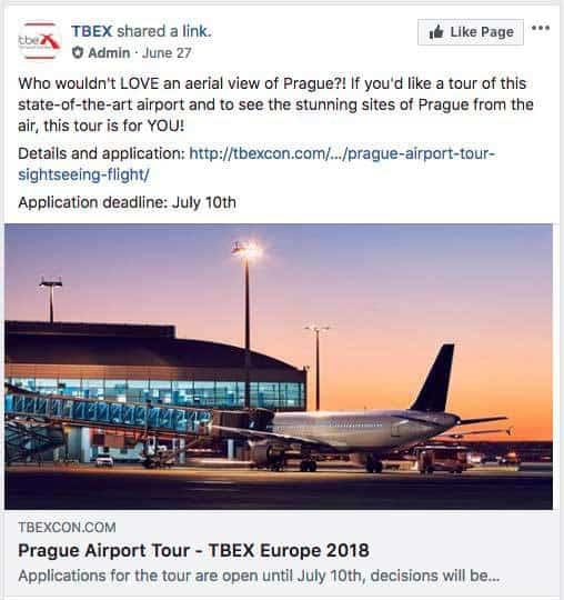 tbex ostrava facebook page sample post