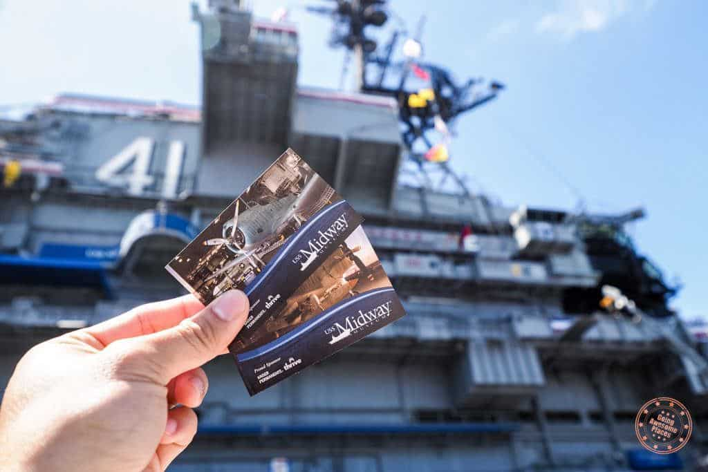 uss midway entrance tickets with carrier in background