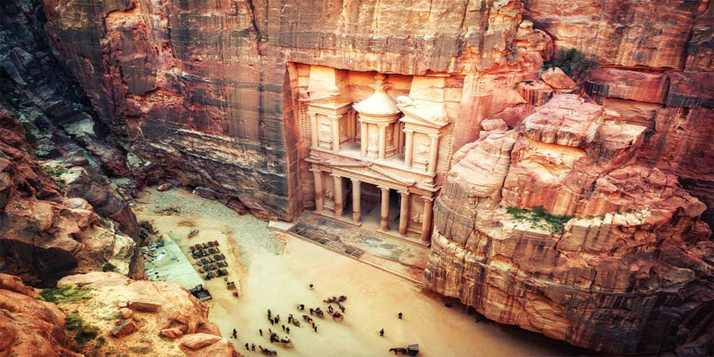 petra treasury view from cliff above