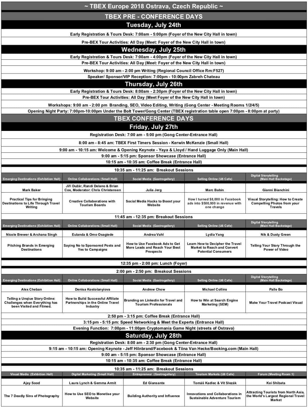 tbex ostrava 2018 calendar schedule part 1