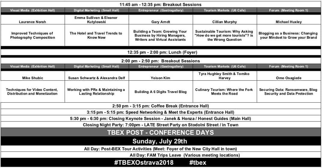 tbex ostrava 2018 calendar schedule part 2