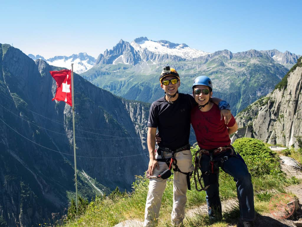 climbing to peak of via ferrata in churwalden with competitours surprise vacation