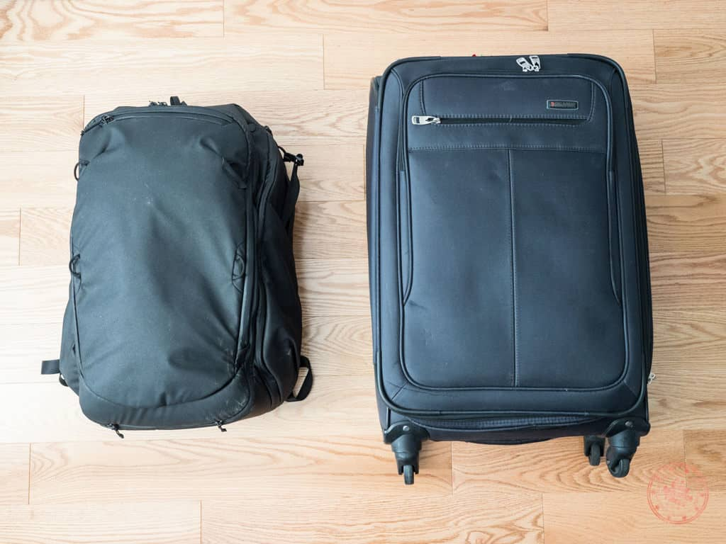 suitcase and backpack used for new zealand trip