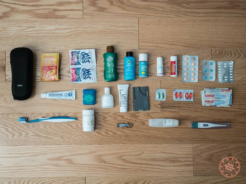 toiletries packed for new zealand