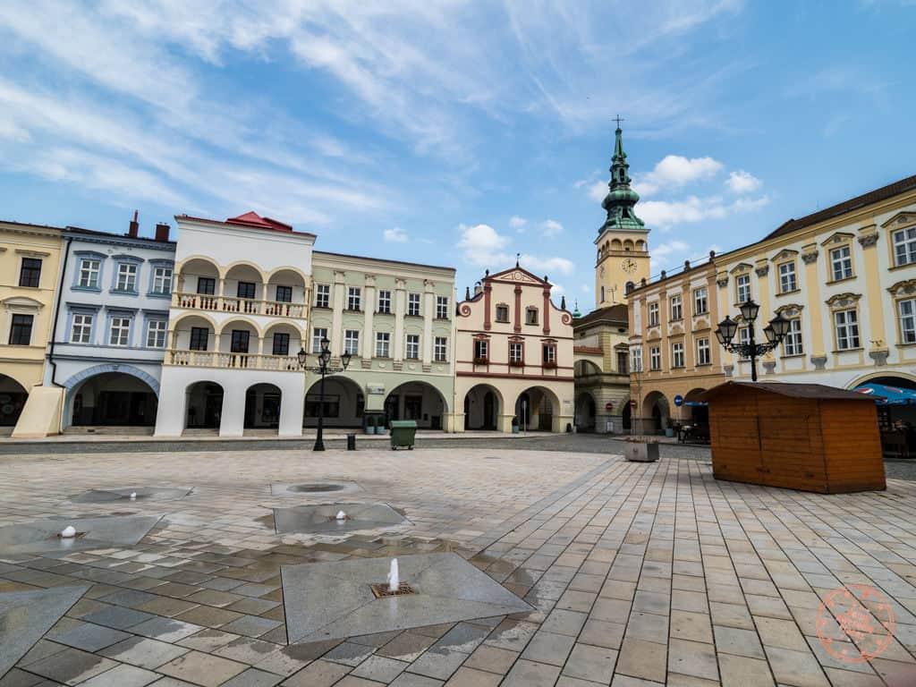 novy jicin main old square in the czech republic