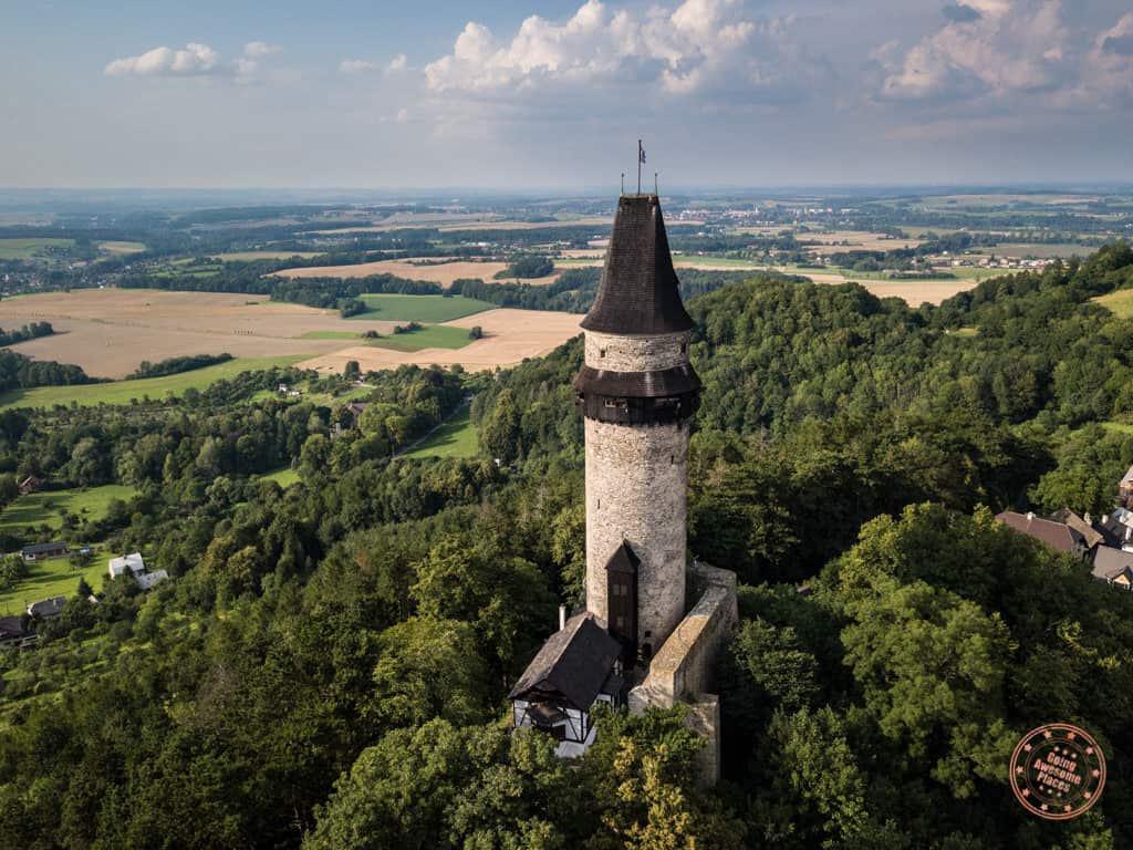 aerial view of stramberk truba tower