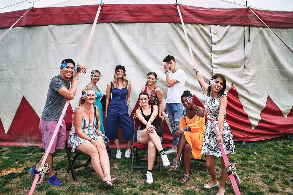hamburg 1 day itinerary vogelball 2018 blogger group photo in front of tent