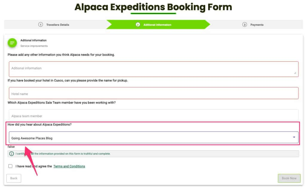 alpaca expeditions discount and promo instructions when booking online with referral