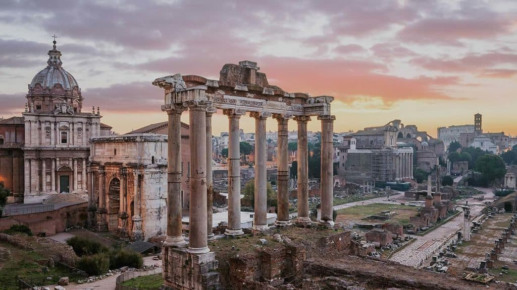 sunset in rome forum italy