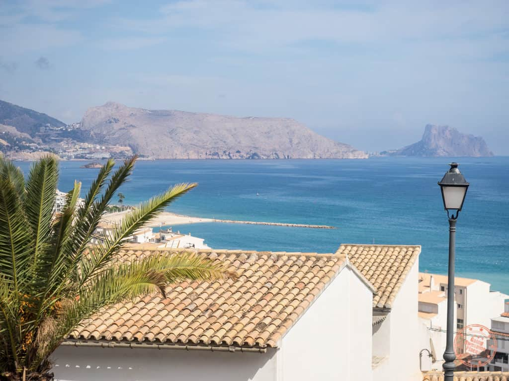 view of coast from altea in spain with white houses
