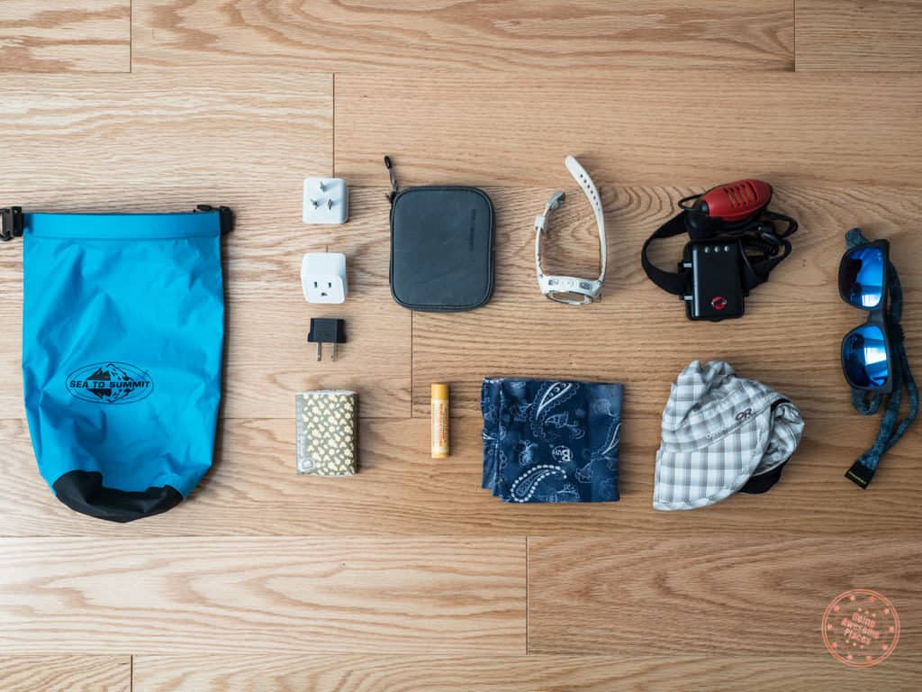 accessories packed into peak design backpack for new zealand trip