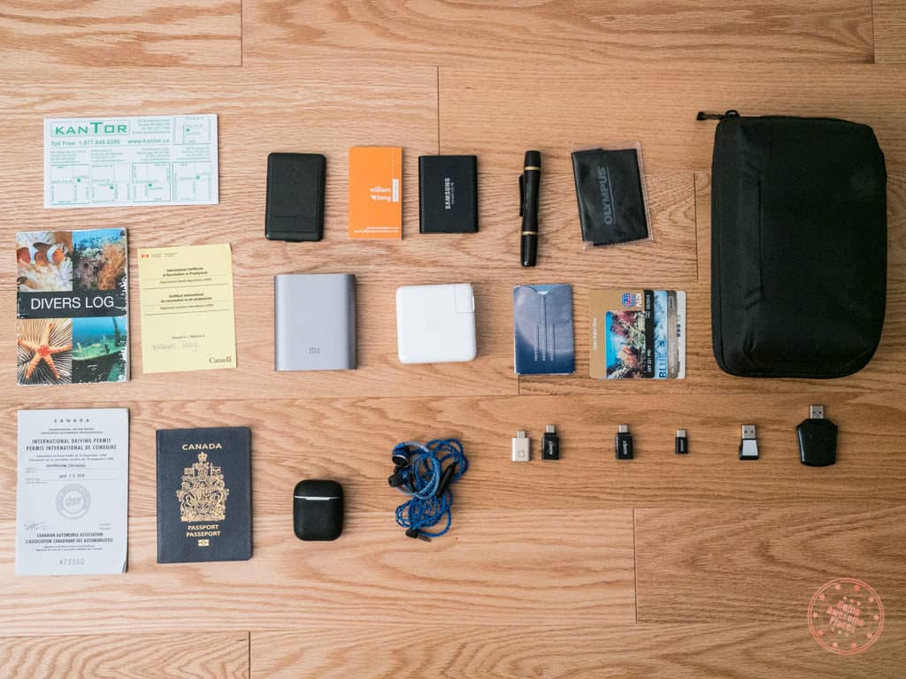 peak design tech pouch packed items