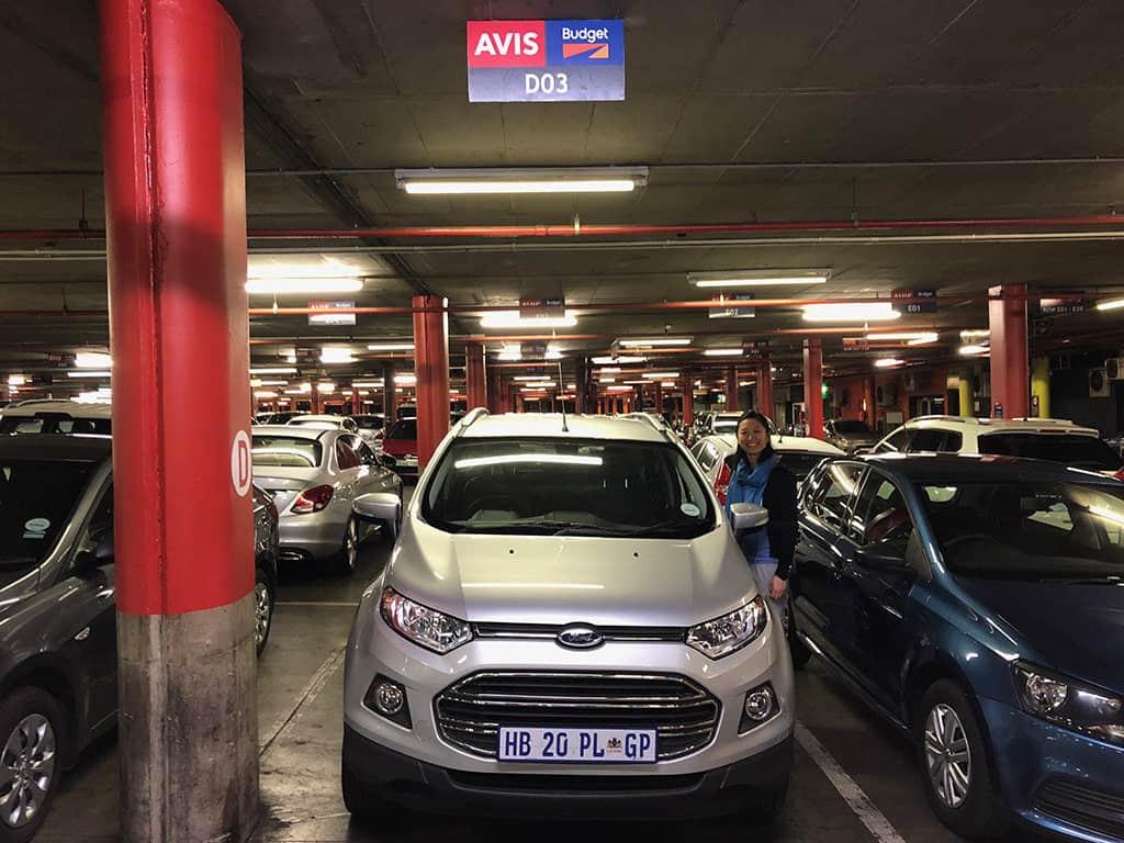 avis car rental lot in or tambo johannesburg to start safari trip in south africa