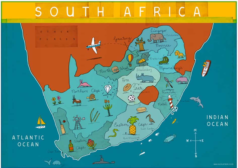 illustrated map in south africa travel tips guide
