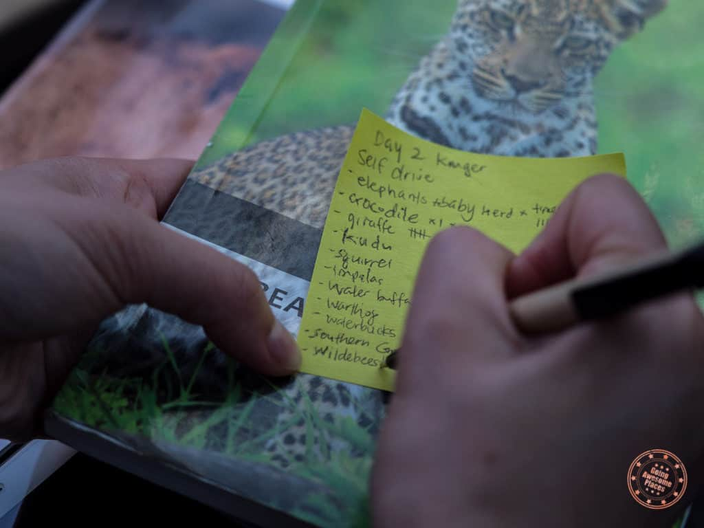 keeping track of sightings on a post it note