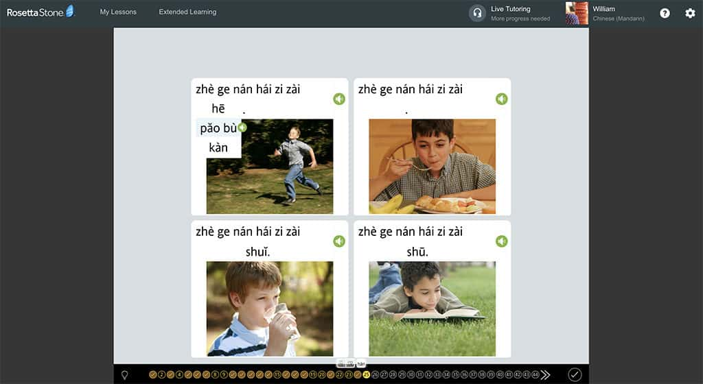 fill in the word selection challenge in rosetta stone mandarin