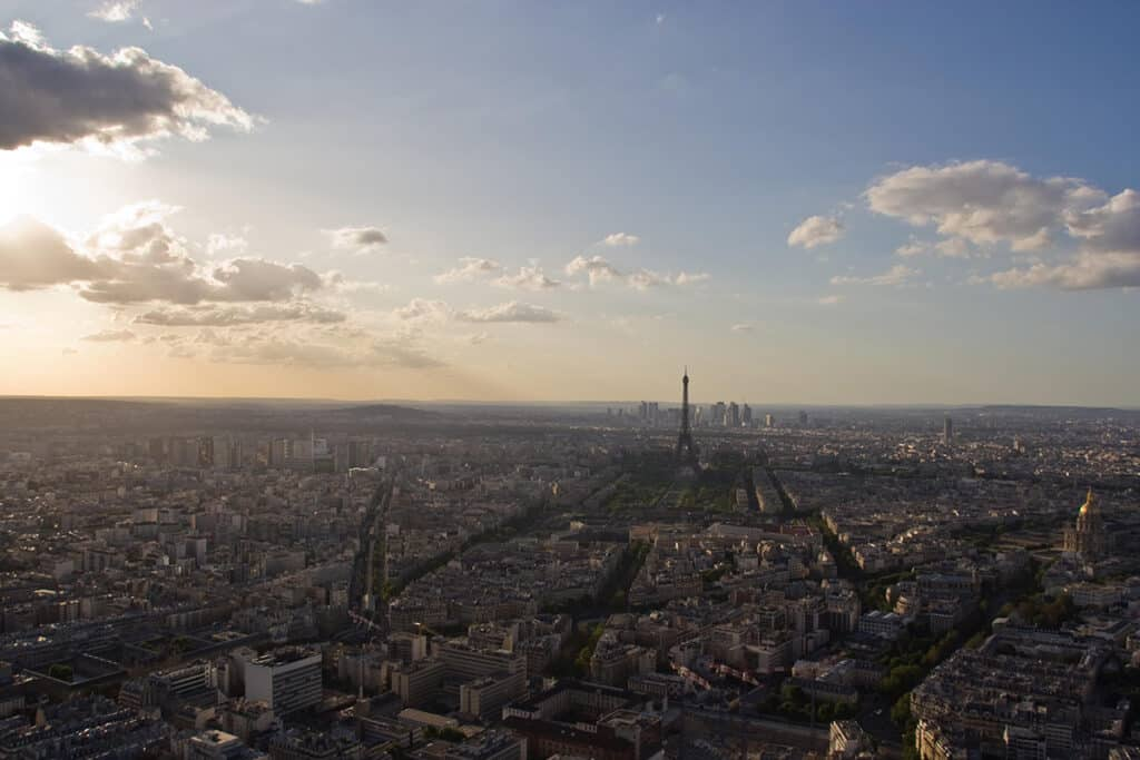 view of paris from the rooftop of montparnasse tower