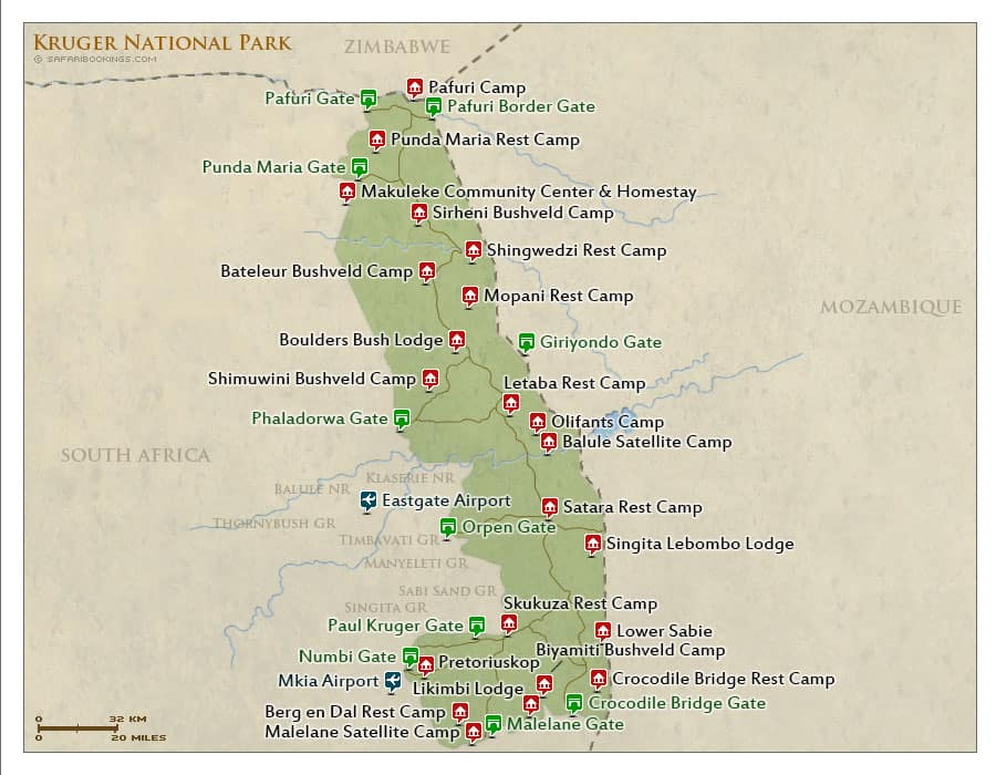 whole map of kruger national park in south africa
