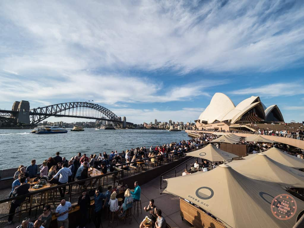 sydney opera house with harbour bridge and bar in view