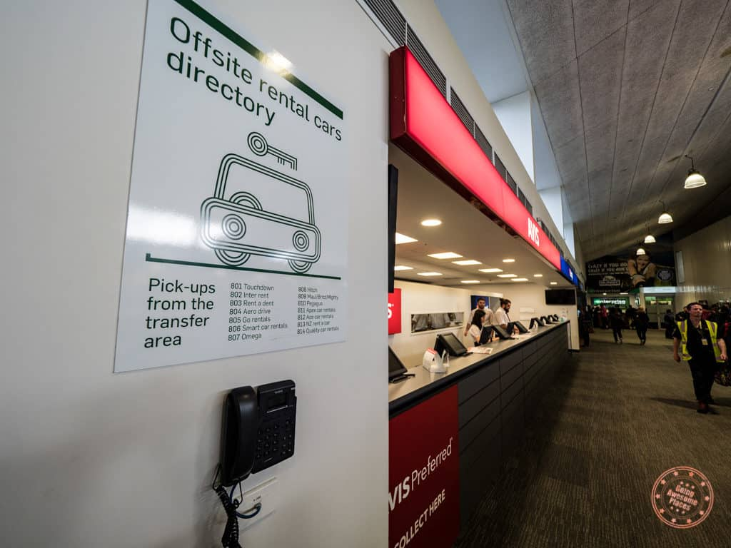 courtesy phone at queenstown airport to call car rental companies