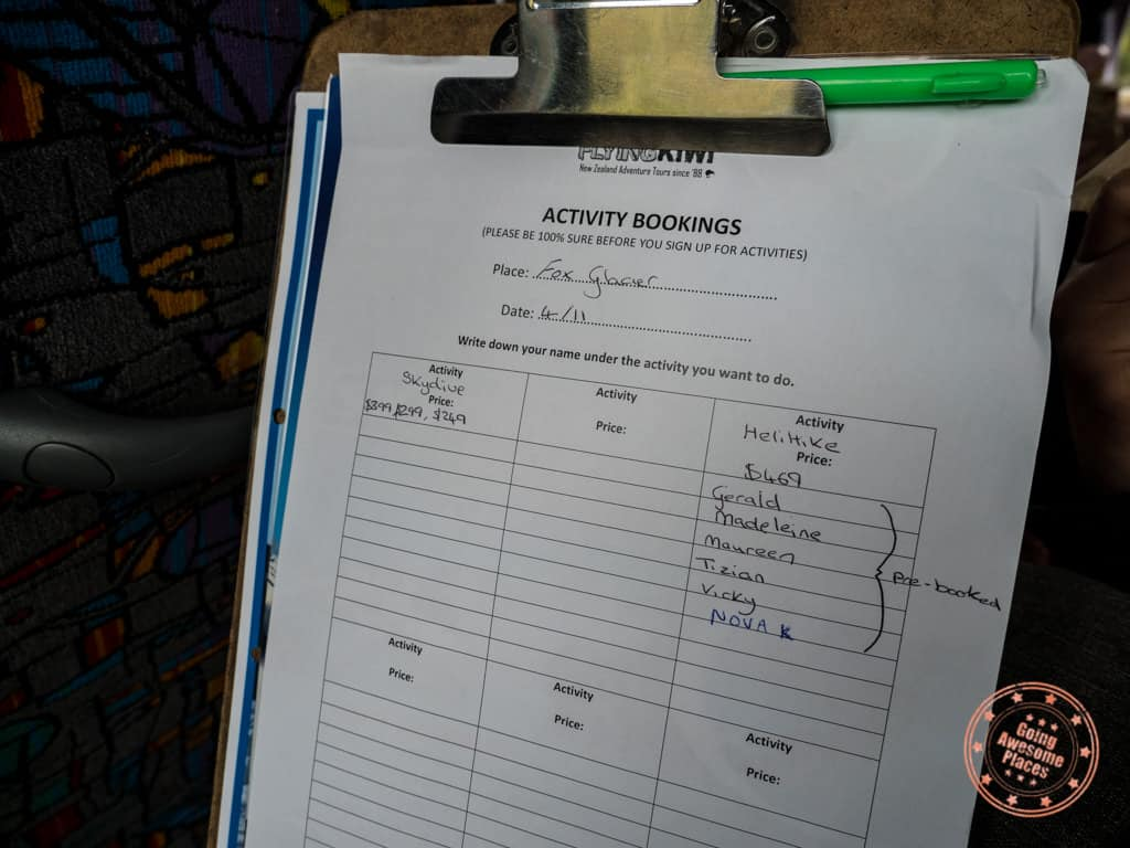 flying kiwi activity sign up sheet on the adventure bus
