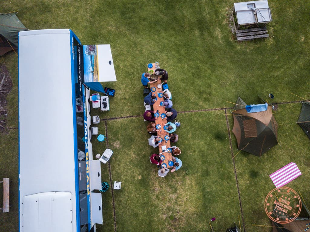 flying kiwi group dinner paihia outdoor camping aerial
