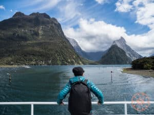 will at milford sound with mitre peak in background
