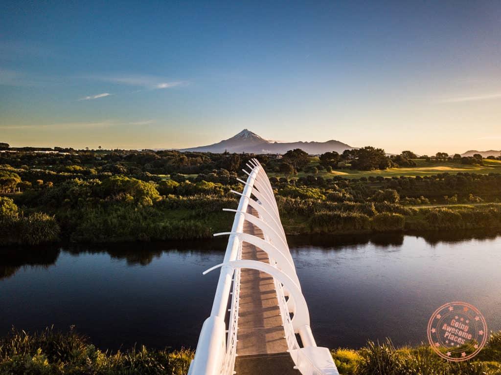 flying kiwi adventure bus tour review and view of mount taranaki and te rewa rewa bridge