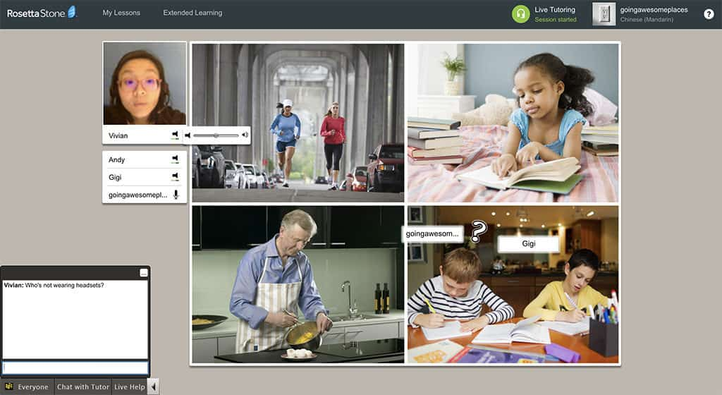 rosetta stone live tutor session to practice mandarin