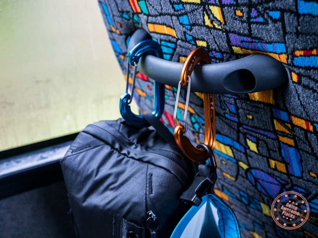 tip to use carabiners on flying kiwi bus to stay organized