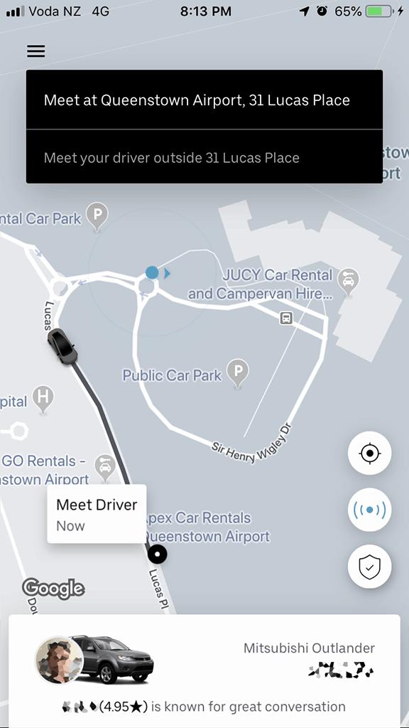 uber pick up at queenstown airport screenshot
