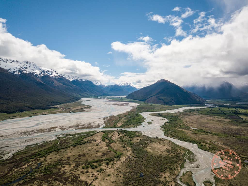 aerial view of glenorchy new zealand in 3 week itinerary